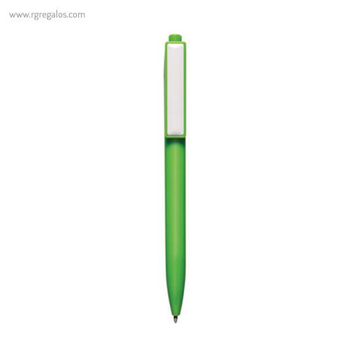 Bolígrafo plástico cierre pulsador verde - RG regalos publicitarios