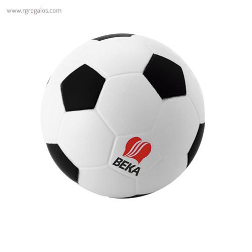 Pelota fútbol antiestrés negro logo - RG regalos publicitarios
