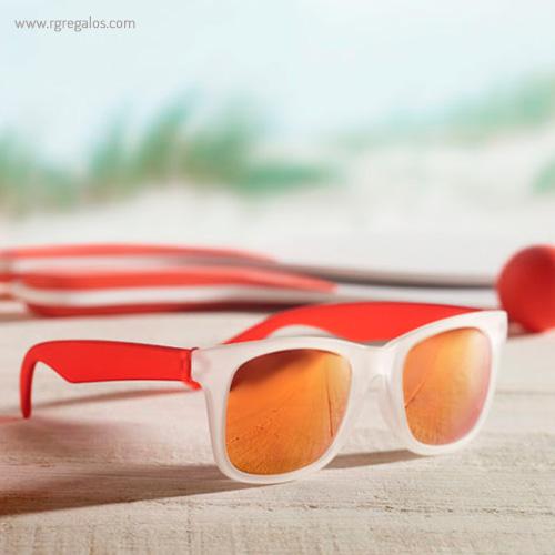 Gafas de sol lentes espejo rojo detalle - RG regalos publicitarios