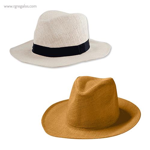 Sombrero fabricado en papel camel y blanco - RG regalos publicitarios