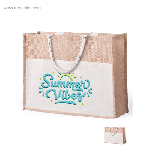 Bolsa de playa yute con bolsillo - RG regalos de empresa personalizados