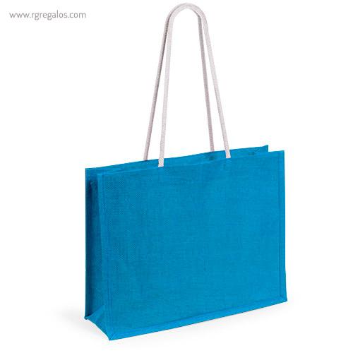 Bolsa de playa en yute colores azul - RG regalos publicitarios
