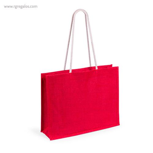 Bolsa de playa en yute colores roja - RG regalos publicitarios