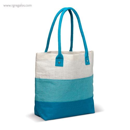 Bolsa de playa en yute rayas azul - RG regalos publicitarios