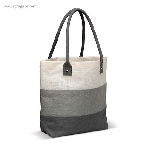 Bolsa de playa en yute rayas gris - RG regalos publicitarios