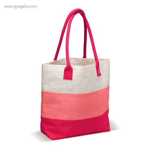 Bolsa de playa en yute rayas rosa - RG regalos publicitarios