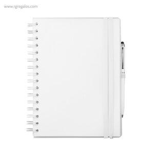 Cuaderno con bolígrafo blanco - RG regalos publicitarios