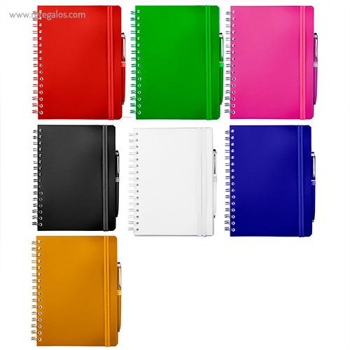 Cuaderno con bolígrafo colores - RG regalos publicitarios