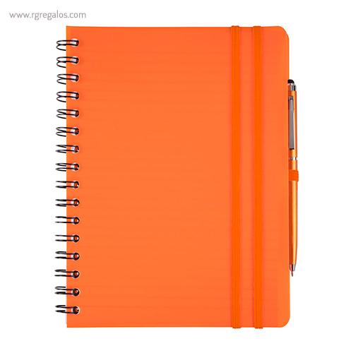 Cuaderno con bolígrafo naranja - RG regalos publicitarios
