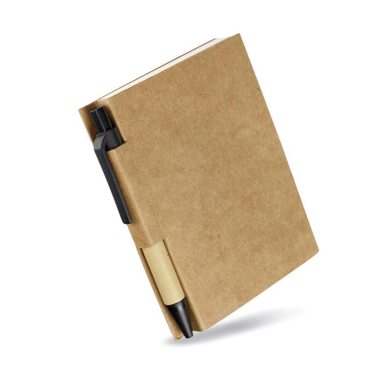 Libreta-papel reciclado-y-boli-negro - RG regalos-publicitarios