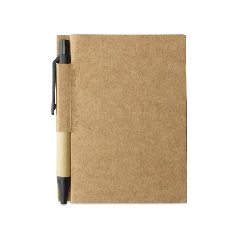 Libreta-papel reciclado-y-boli-negro - RG regalos