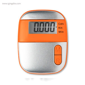 Podómetro con clip naranja - RG regalos publicitarios