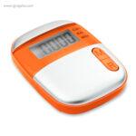 Podómetro con clip naranja frontal - RG regalos publicitarios
