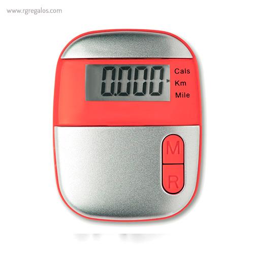 Podómetro con clip rojo - RG regalos publicitarios