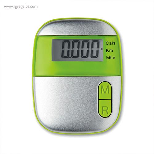 Podómetro con clip verde - RG regalos publicitarios