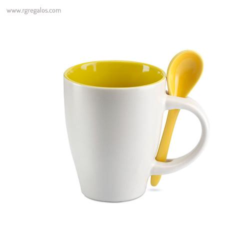 Taza cerámica bicolor 250 ml amarilla - RG regalos publicitarios