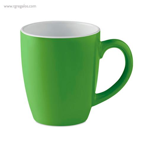 Taza cerámica colores 300 ml verde - RG regalos publicitarios