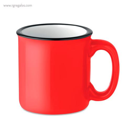 Taza cerámica estilo vintage roja - RG regalos publicitarios