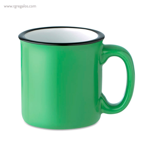 Taza cerámica estilo vintage verde - RG regalos publicitarios
