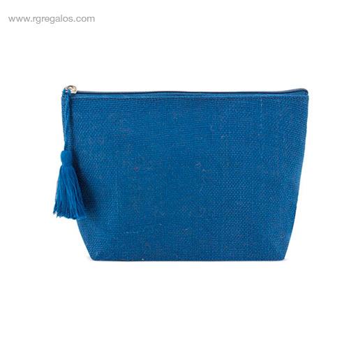 Neceser de yute con pompón azul - RG regalos