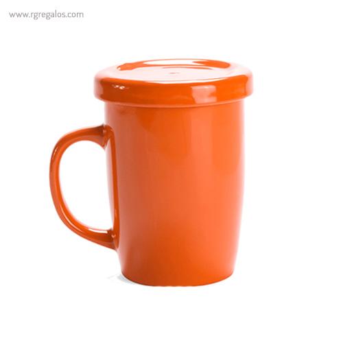 Taza de cerámica para te naranja - RG regalos publicitarios