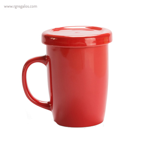 Taza de cerámica para te roja - RG regalos publicitarios