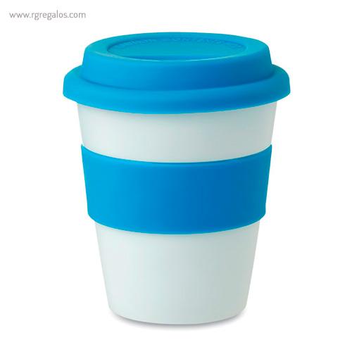 Taza en PP brillante con tapa azul - RG regalos publicitarios