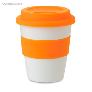 Taza en PP brillante con tapa naranja - RG regalos publicitarios