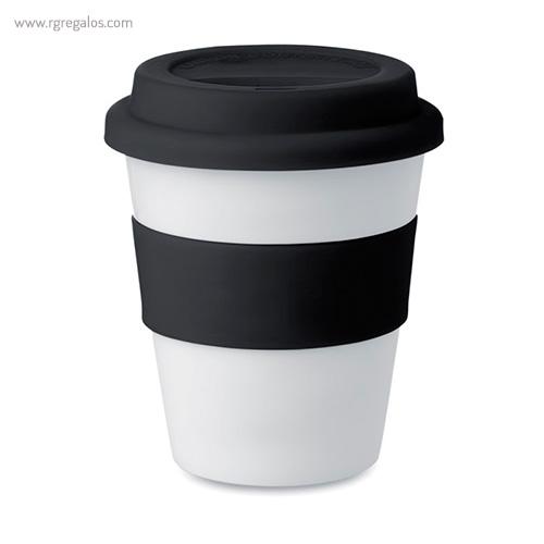 Taza en PP brillante con tapa negro - RG regalos publicitarios