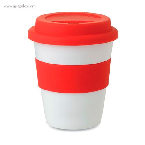 Taza en PP brillante con tapa rojo - RG regalos publicitarios