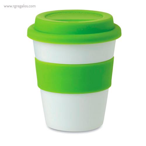 Taza en PP brillante con tapa verde - RG regalos publicitarios