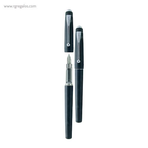 Pluma Borghini plástico V71 transparente negra - RG regalos publicitarios