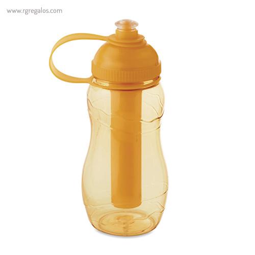 Botella de AS con porta hielos naranja - RG regalos publicitarios