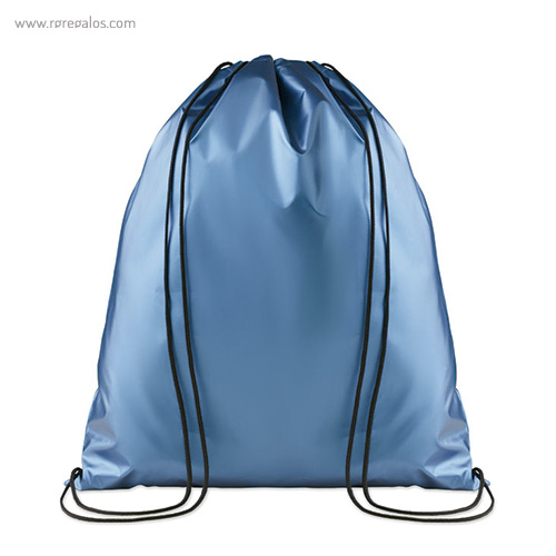 Mochila plana laminada brillante azul - RG regalos publicitarios