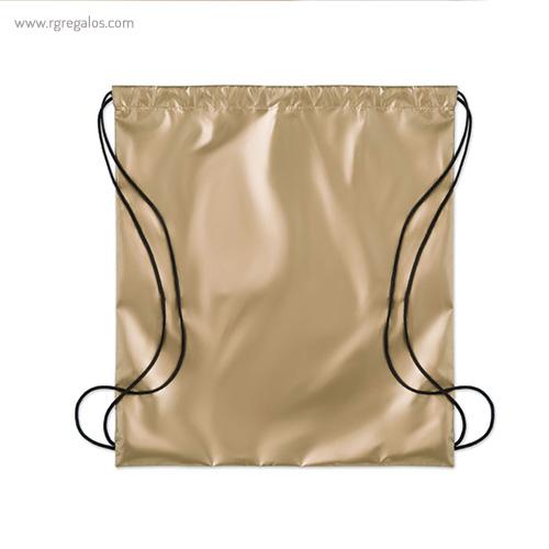 Mochila plana laminada brillante dorada 1- RG regalos publicitarios