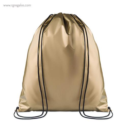 Mochila plana laminada brillante dorada - RG regalos publicitarios
