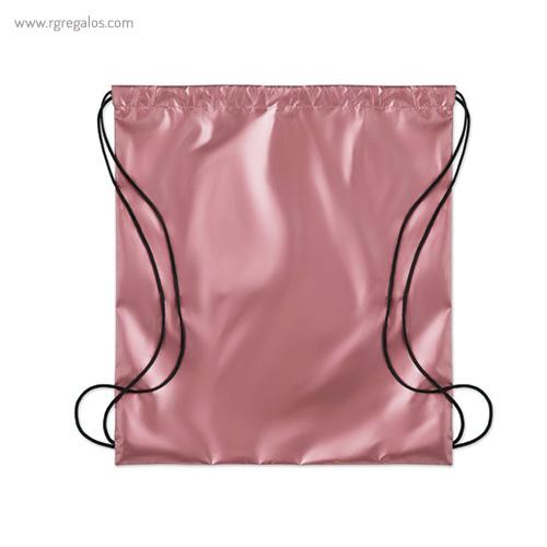 Mochila plana laminada brillante rosa 1- RG regalos publicitarios