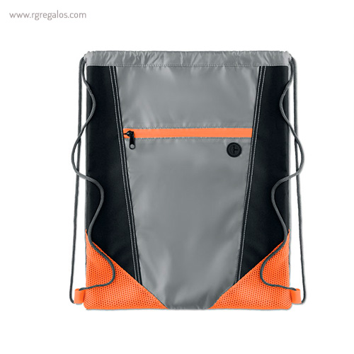 Mochila saco con bolsillo frontal naranja 1 - RG regalos publicitarios