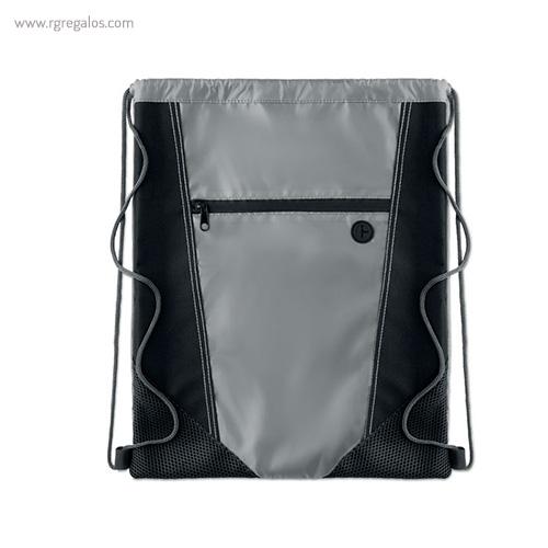 Mochila saco con bolsillo frontal negra 1 - RG regalos publicitarios