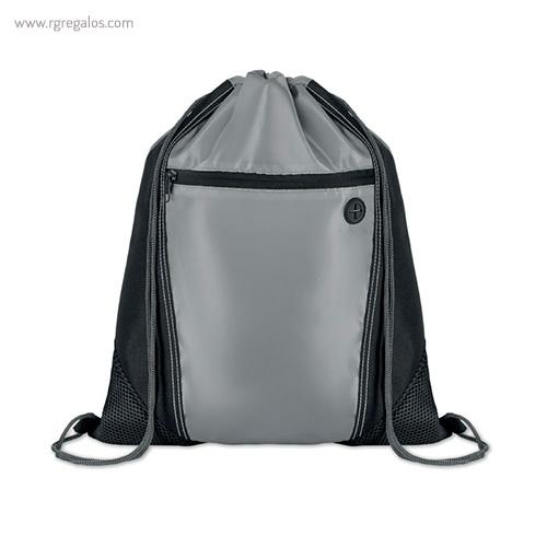 Mochila saco con bolsillo frontal negra - RG regalos publicitarios