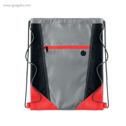 Mochila saco con bolsillo frontal roja 1- RG regalos publicitarios