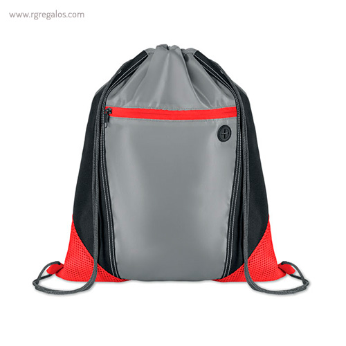 Mochila saco con bolsillo frontal roja - RG regalos publicitarios