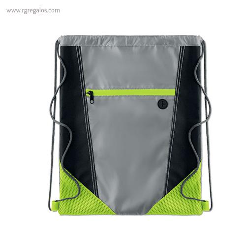 Mochila saco con bolsillo frontal verde 1 - RG regalos publicitarios