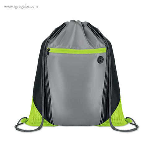 Mochila saco con bolsillo frontal verde - RG regalos publicitarios