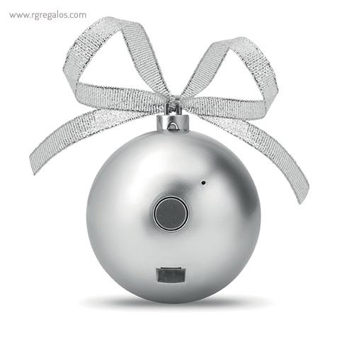 Bola de navidad altavoz plata detrás - RG regalos publicitarios (1)