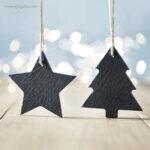Colgante navidad de pizarra estrella con logo - RG regalos publicitarios