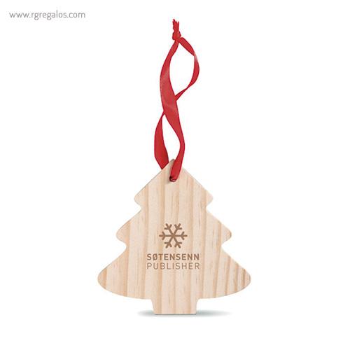 Colgante navidad de madera árbol navidad con logo - RG regalos publicitarios