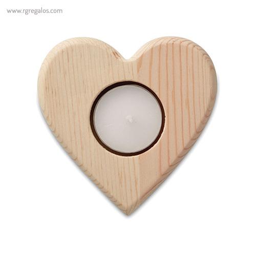 Portavela navidad de madera corazón - RG regalos publicitarios