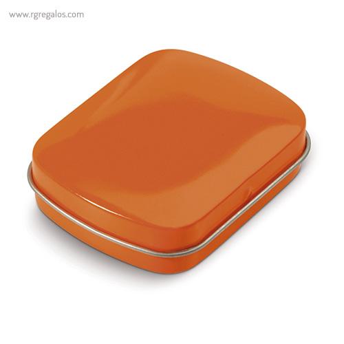 Caja cuadrada de caramelos naranja cerrada - RG regalos publicitarios