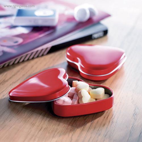Caja metálica forma corazón perfil - RG regalos publicitarios